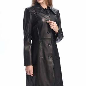 purple and black leather trench coat women
