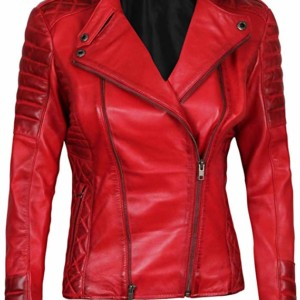 Asymmetrical Red Real Womens Lambskin Leather Jacket