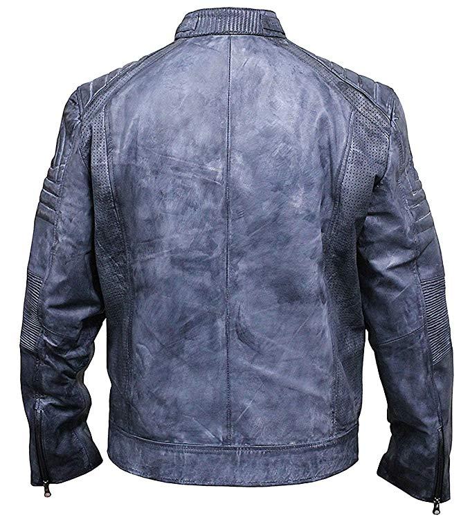 blue biker jacket mens