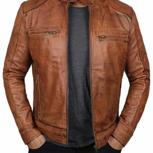 mens brown leather biker jacket