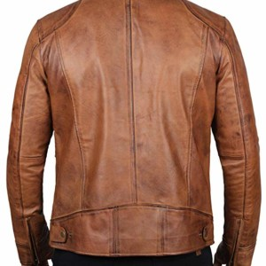 mens tan leather biker jacket