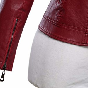 women maroon leather biker jacket