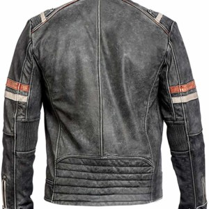 mens retro leather biker jacket