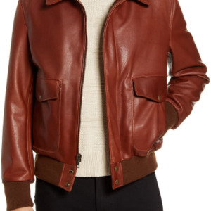 Pebble Texture Leather Bomber Jacket