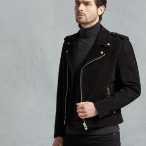 Edmund Biker Jacket In Black Lightweight Oiled Suede Leather