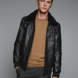 LEATHER AVIATOR JACKET WITH SHEARLING COLLAR