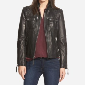Brandi Black Leather Biker Jacket