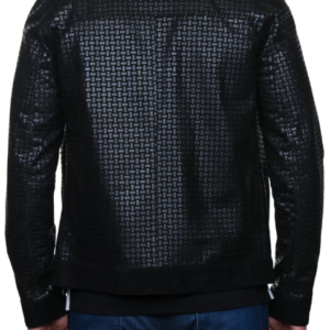Mosaic Leather Bomber Jacket