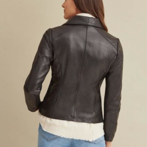 Knit Detail Leather Jacket