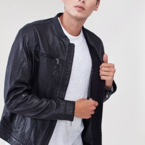 Band Collar Leather Jacket