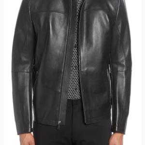 Bonded Leather Racing Jacket