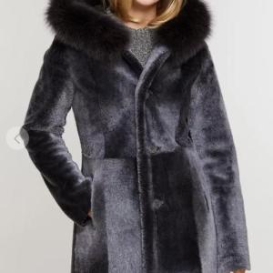 Justine Reversible Hooded Spanish Merino Shearling Sheepskin Coat with Fox Fur Trim
