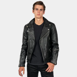 DEFECTOR – BLACK LEATHER JACKET WITH NICKEL HARDWARE