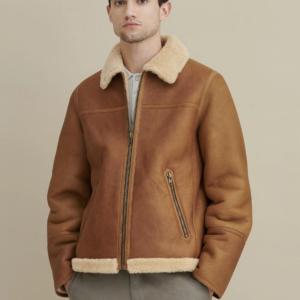 Kevin Sherpa Shearling Zip Front Jacket