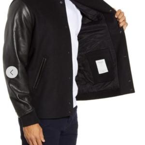Boulder Slim Fit Wool Blend & Leather Jacket