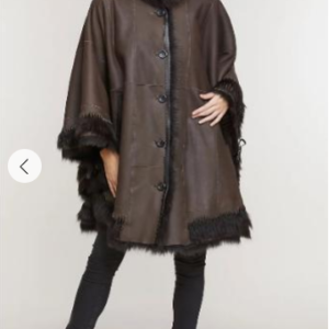 Sharon Shearling Sheepskin Cape with Toscana Trim