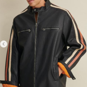 Big & Tall Motorcycle Faux-Leather Jacket