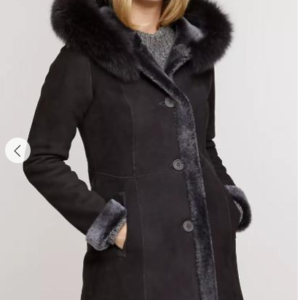 Justine Reversible Hooded Spanish Merino Shearling Sheepskin Coat with Fox Fur Trim