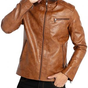 Stand Collar Leather Jacket Motorcycle Lightweight Leather Outwear