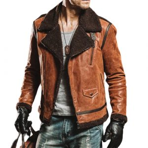 Brown Leather Fur Collar Flight Jacket