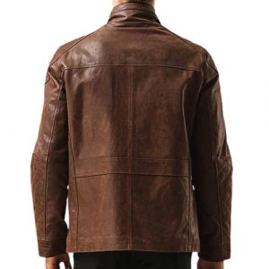 Coffee Brown Field Leather Jacket